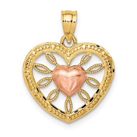 14k Two-tone Gold Heart with Pink Center Charm