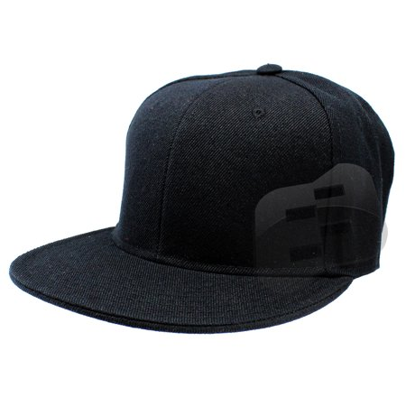 Enimay Baseball Hats Caps Flat Bill Solid Color No Logo (MANY COLORS/SIZES AVAILABLE) Black 7 ()