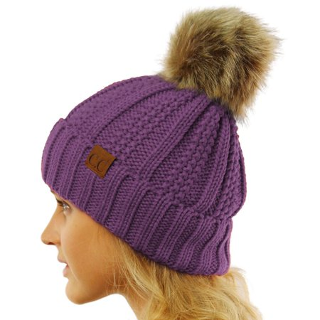 Funky Chunky Knitted Accessories - CC Winter Sherpa Fleeced Lined Chunky Knit Stretch Pom Pom Beanie Hat Cap