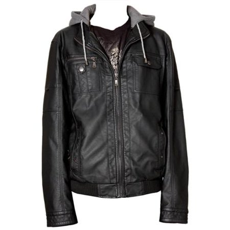 RNZ Premium Designer Men's Faux Leather Jacket - M9-Black-S
