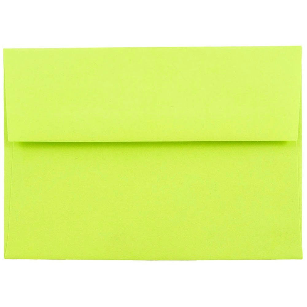 JAM Paper A6 Invitation Envelopes, 4 3/4 x 6 1/2 Recycled Invitation Envelope, Brite Hue Ultra Lime Green, 250/pack