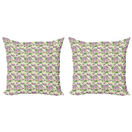Philodendron Throw Pillow Cushion Cover Pack of 2, Spotted Orchid Flower and Monstera Leaves Pattern, Zippered Double-Side Digital Print, 4 Sizes, Multicolor, by Ambesonne Common Spotted Orchid