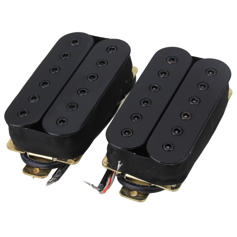 BQLZR Double Coil Black Metal Electric Guitar Pickups Humbucker Set of 2 by