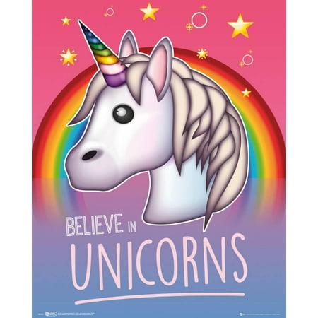 Emoji Believe In Unicorns Mini Poster - (Framed Mini Poster)