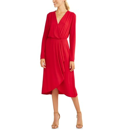Women's Asymmetrical Ruffle Midi Dress