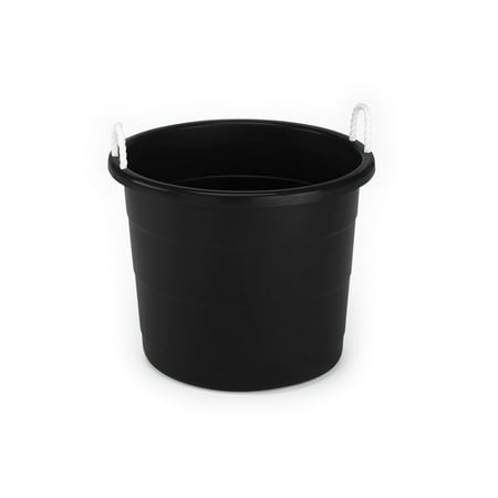 Mainstays 17 Gallon Plastic Utility Tub with Rope Handles, Black, Set of 8 - Storage Tub
