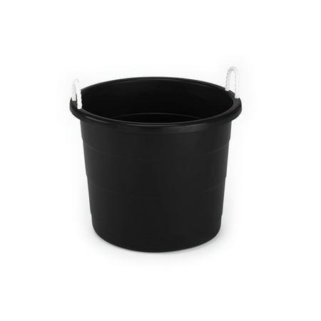 mainstays 17 gallon plastic utility tub with rope handles black set of 8. Black Bedroom Furniture Sets. Home Design Ideas