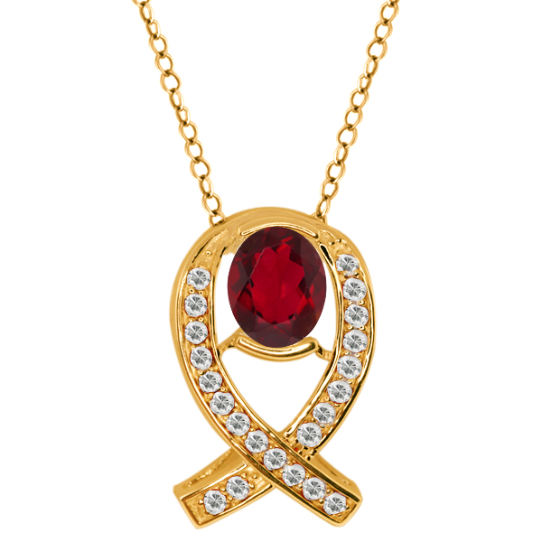 2.04 Ct Oval Ruby Red Mystic Topaz Topaz Gold Plated Sterling Silver Pendant