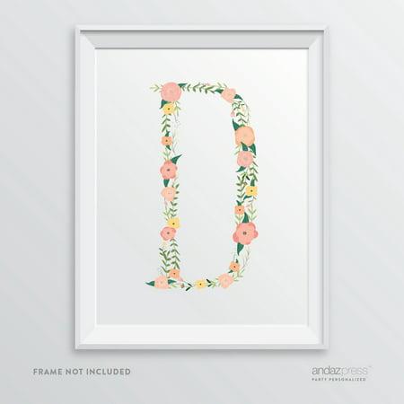 D Monogram Wall Art Letters, Coral Floral (Floral Monogram)