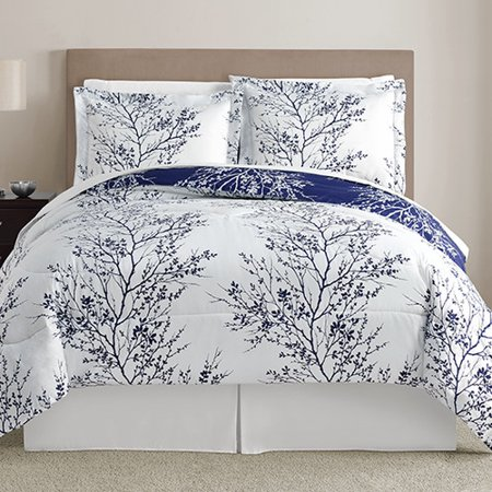 Vcny Home Navy And White Leaf 8 Piece Reversible Bed In A