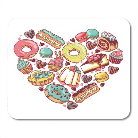 KDAGR Love Pastry Sweets Bakery Products Desserts Heart with Donut Cupcake Chocolate Macaroon Eclair Pie Mousepad Mouse Pad Mouse Mat 9x10 inch