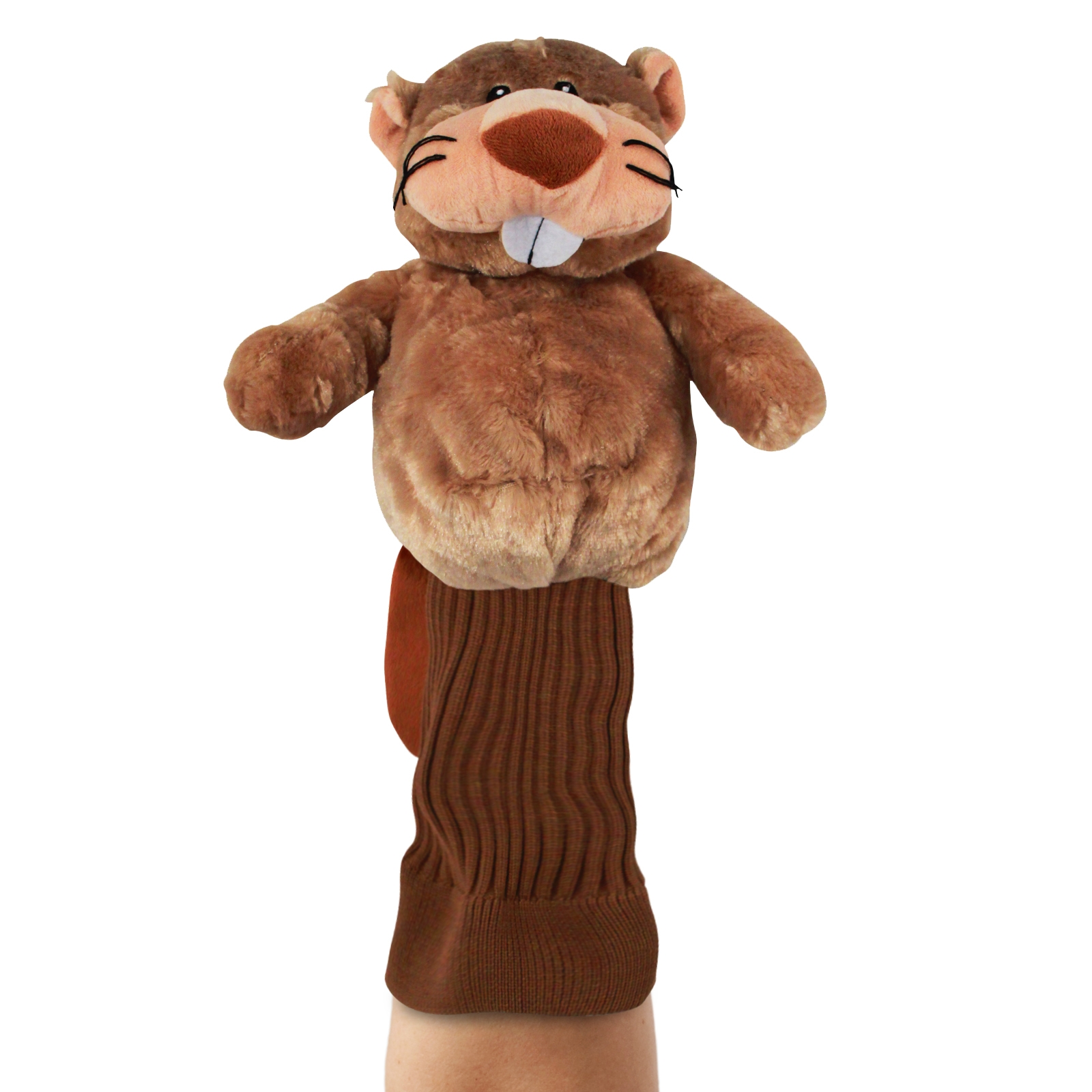 Birdie the Beaver Brown Plush Kids Hand Puppet for Self Expression