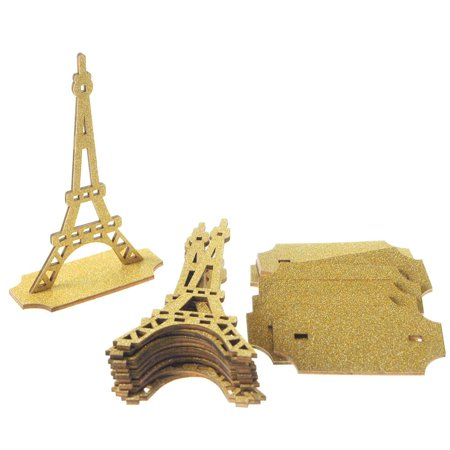 Wooden Eiffel Tower Stand with Glitters, 5-Inch, 10-Piece, Gold