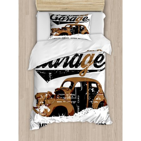 Cars Duvet Cover Set, Old Garage Mechanical Auto Repairs Truck Company Skull Grunge Display, Decorative Bedding Set with Pillow Shams, Pale Brown Black White, by Ambesonne ()