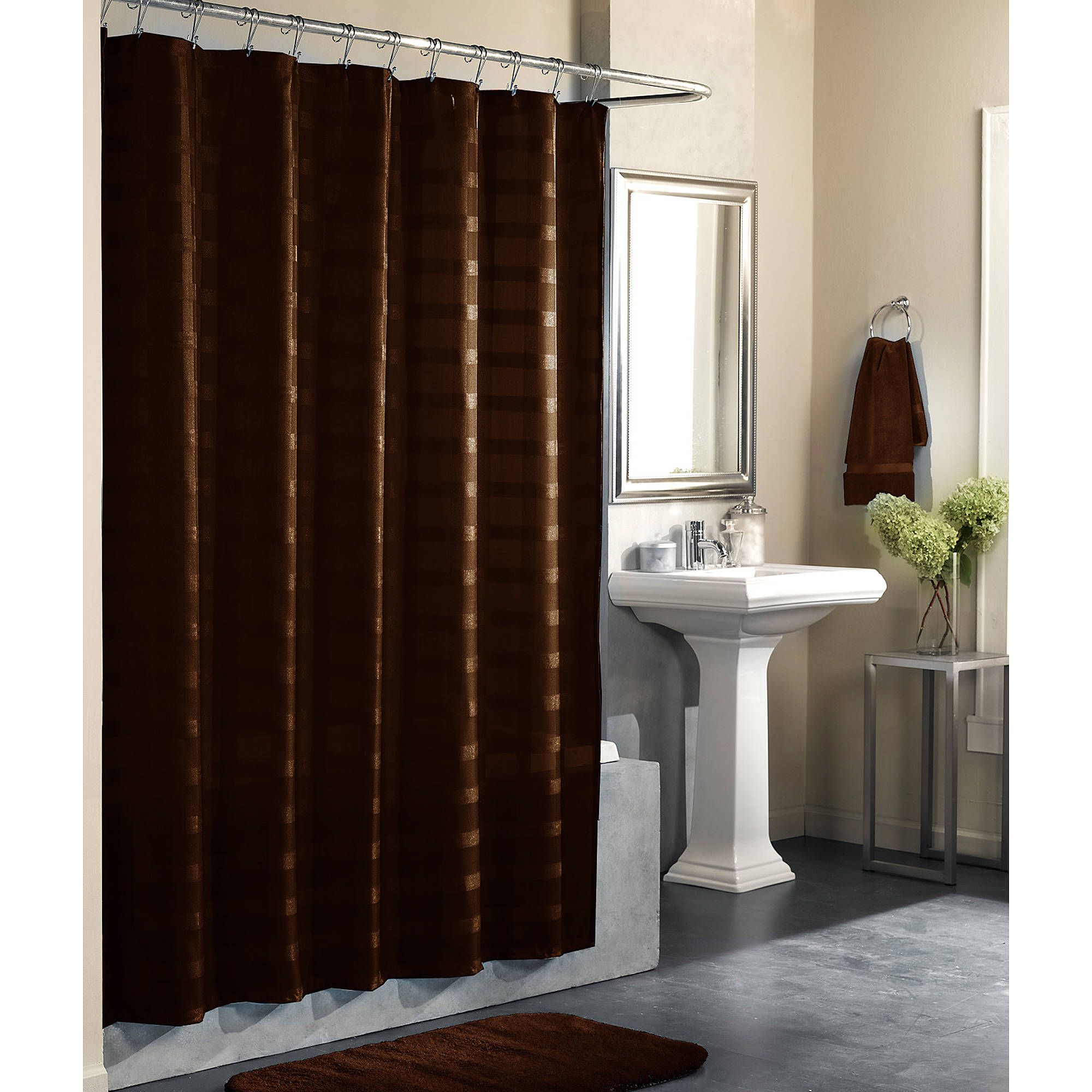 Mainstays Odyssey Solid Color Shower Curtain Costa Brown