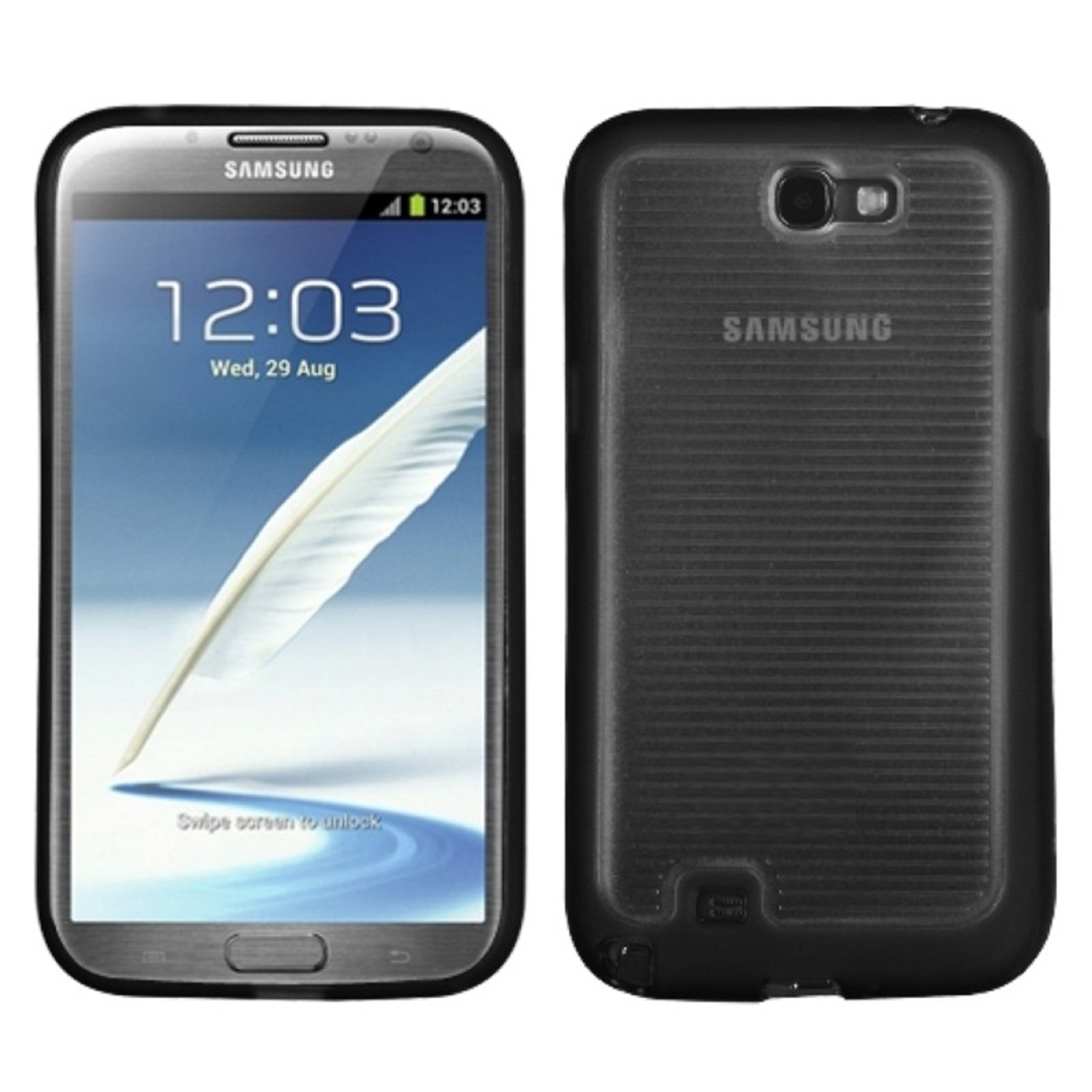 Insten Horizontal Stripes Transparent Clear/Solid Black Gummy Cover Case for SAMSUNG: Galaxy Note II (T889/I605/N7100)