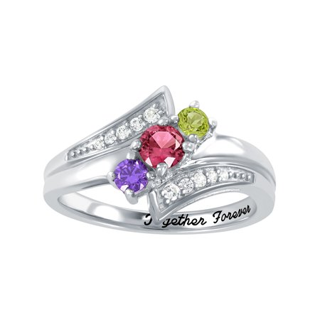 Personalized Solid Ring (Personalized Family Jewelry Birthstone Romp Mother's Ring in Sterling Silver, 10K Gold over Sterling Silver, 10K or 14K Gold/White)