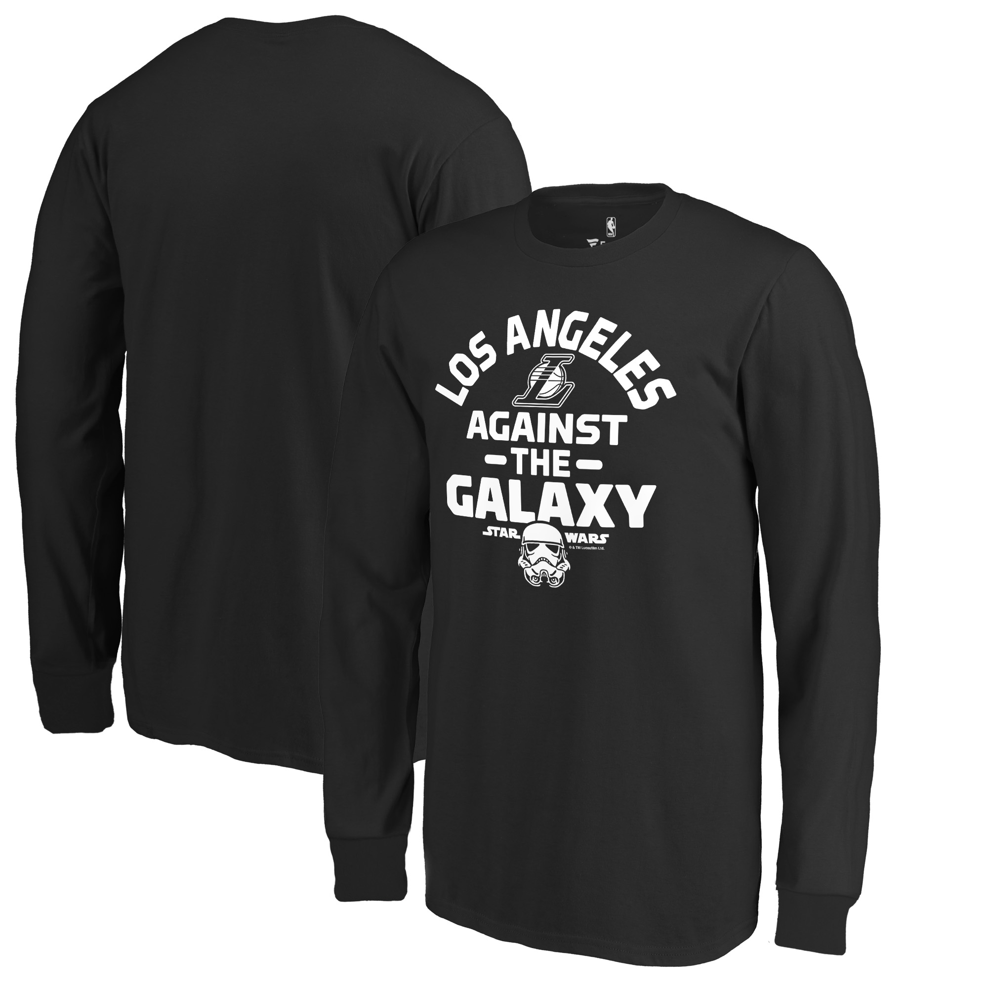 Los Angeles Lakers Fanatics Branded Youth Star Wars Against the Galaxy Long Sleeve T-Shirt - Black