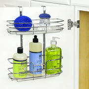 Lynk® Over Cabinet Door Organizer - Double Shelf - w/Molded Tray - Chrome