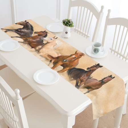 MYPOP Running Horse Table Runner Home Decor 14x72 Inch, Horse Herd Desert Table Cloth Runner for Wedding Party Banquet Decoration (Horse Decorations)