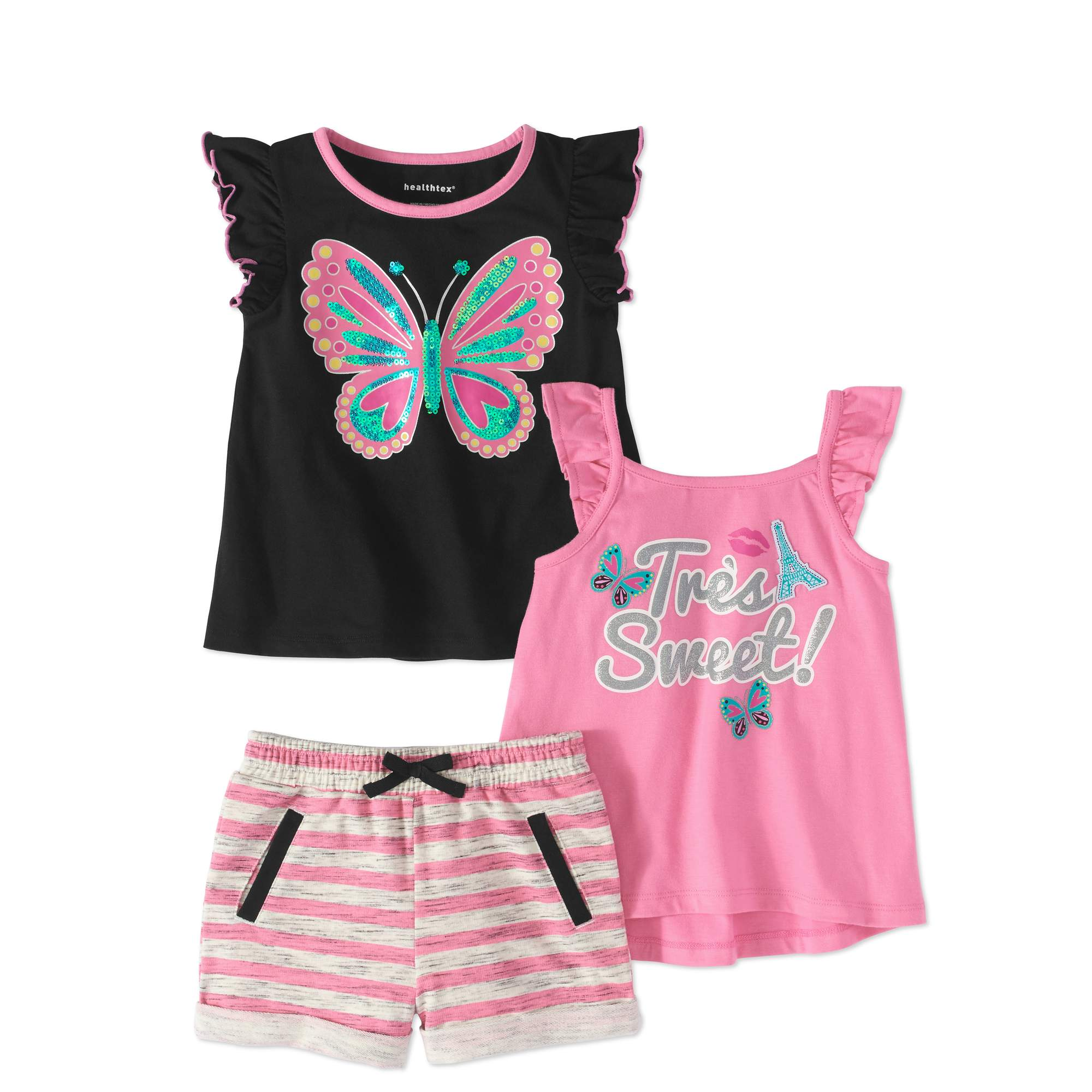 Healthtex Toddler Girl Flutter Sleeve T-shirt, Tank Top & Shorts, 3-pc Outfit Set