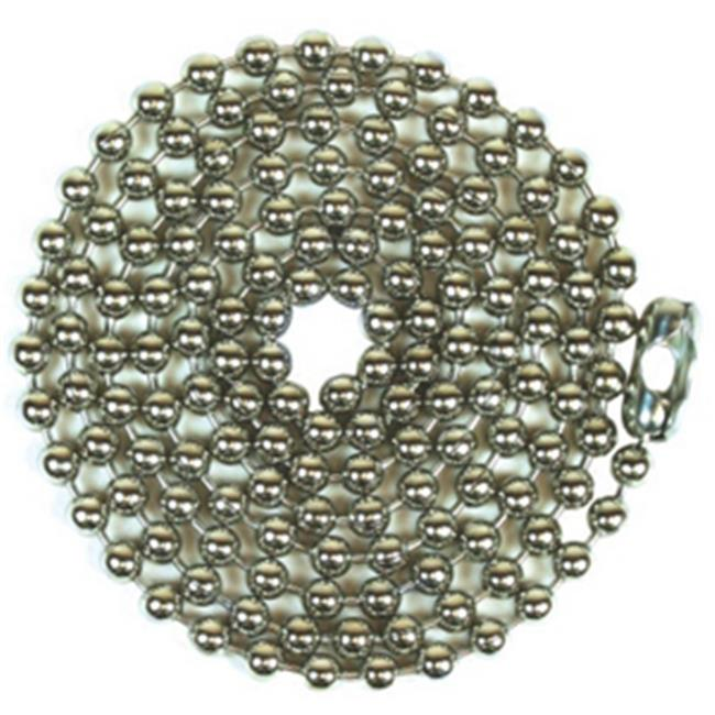 Jandorf Specialty Hardw 94995 No.  10 Bead Chain With Connector - Nickel Plated, 3 ft.