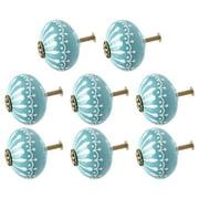 Ceramic Knobs Drawer Round Shape Pull Handle Cupboard Wardrobe Dresser Door Replacement Blue 8pcs