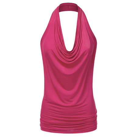 Doublju Women's Lightweight Casual Halter Neck Draped Backless Top FUCHSIA S Draped Neck Halter Top