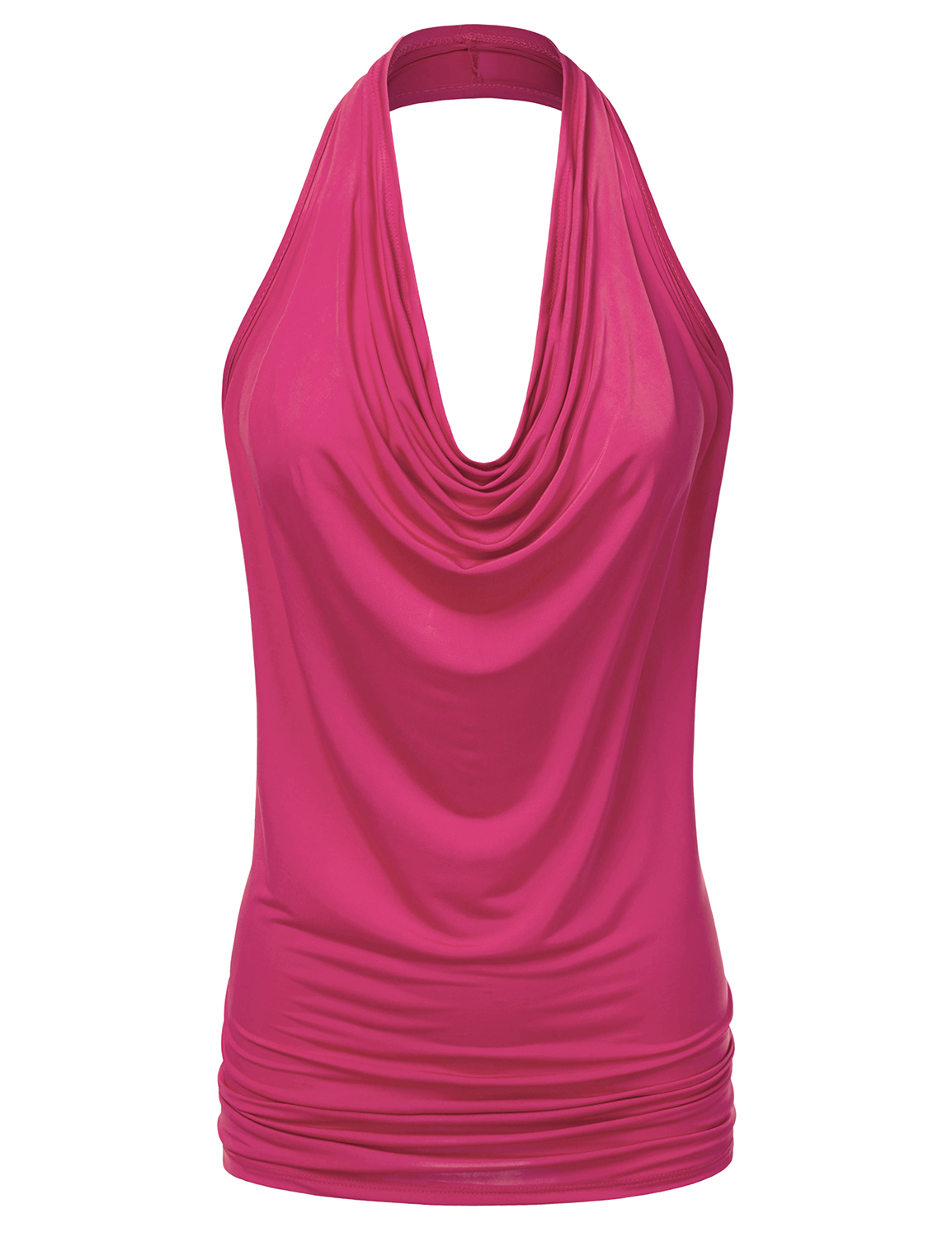 Doublju Women's Lightweight Casual Halter Neck Draped Backless Top FUCHSIA S