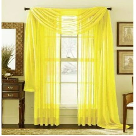 1 PC SOLID YELLOW Hotel High Quality Elegant Window-Sheer Scarf Valance swag topper (37