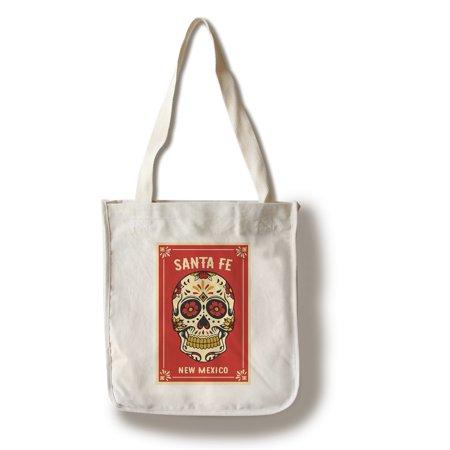 Santa Fe, New Mexico - Day of the Dead - Sugar Skull & Flower Pattern - Lantern Press Artwork (100% Cotton Tote Bag - Reusable) (Day Of The Dead Purse)