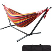 9Ft Double Hammock with Space Saving Steel Stand for Travel Beach/Yard/Outdoor