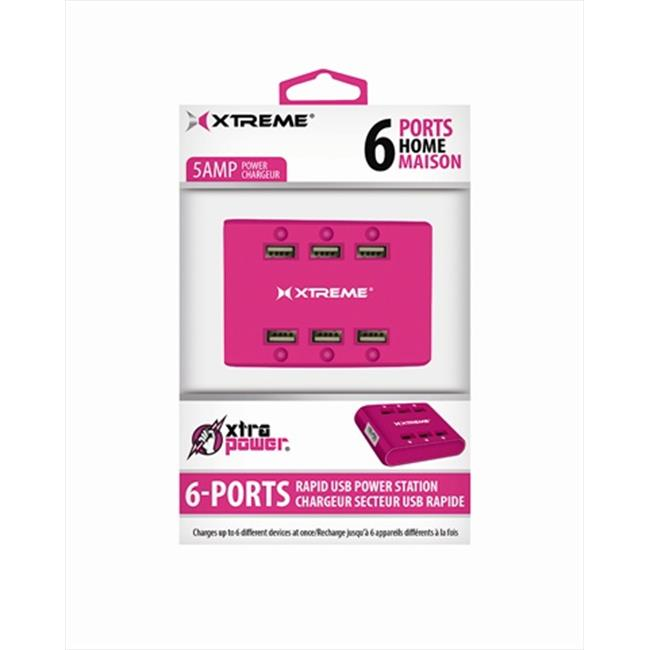 Xtreme Cables 81262 6 Port USB Hub With Power Station - Pink