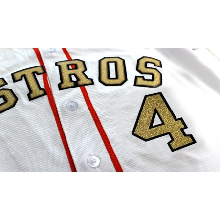 Houston George Springer Front Number 4 Gold Rush Jersey Lettering Kit Poly Pro Twill Iron-On Pro Weight Poly Jersey