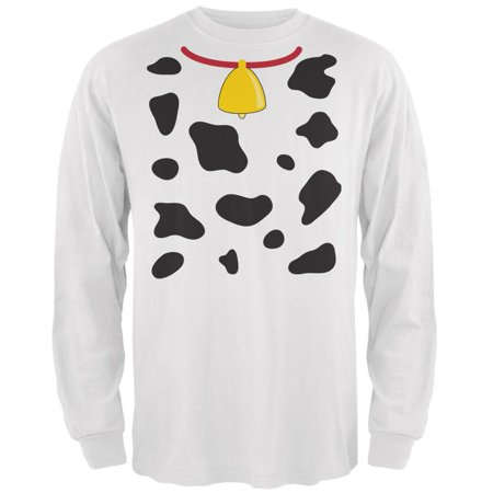 Halloween Cow Costume White Adult Long Sleeve T-Shirt](Quick Cow Costume)