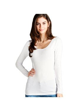 30e8c228c85f Product Image Women's Long Sleeve Scoop Neck Fitted Cotton Top Basic T  Shirts-Plus Size Available (