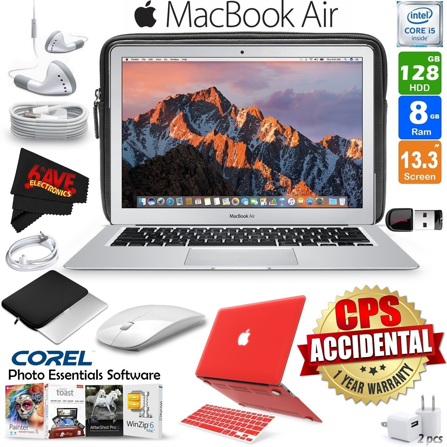 "Apple 13.3"" MacBook Air 128GB SSD (MQD32LL/A) + iBenzer Basic Soft-Touch Series Plastic Hard Case & Keyboard Cover for Apple Macbook Air 13-inch 13"" Red + 3 Foot Lightning USB Cable 1 Meter Bundle"