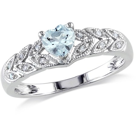 1/3 Carat T.G.W. Aquamarine and Diamond-Accent Sterling Silver Heart Ring