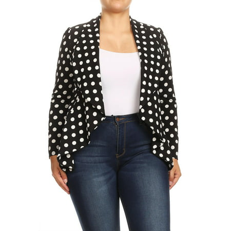 MOA COLLECTION Women's Solid Print Casual Stretch Comfort Open Front Draped Blazer Jacket/Made in USA Black Stretch Blazer Jacket