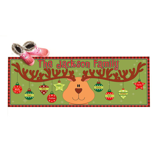 "Personalized Reindeer Christmas Ornaments Doormat, 17"" x 27"""