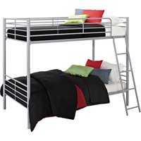 Mainstays Twin over Twin Convertible Bunk Bed, Multiple Colors with 2 Mainstays Mattresses