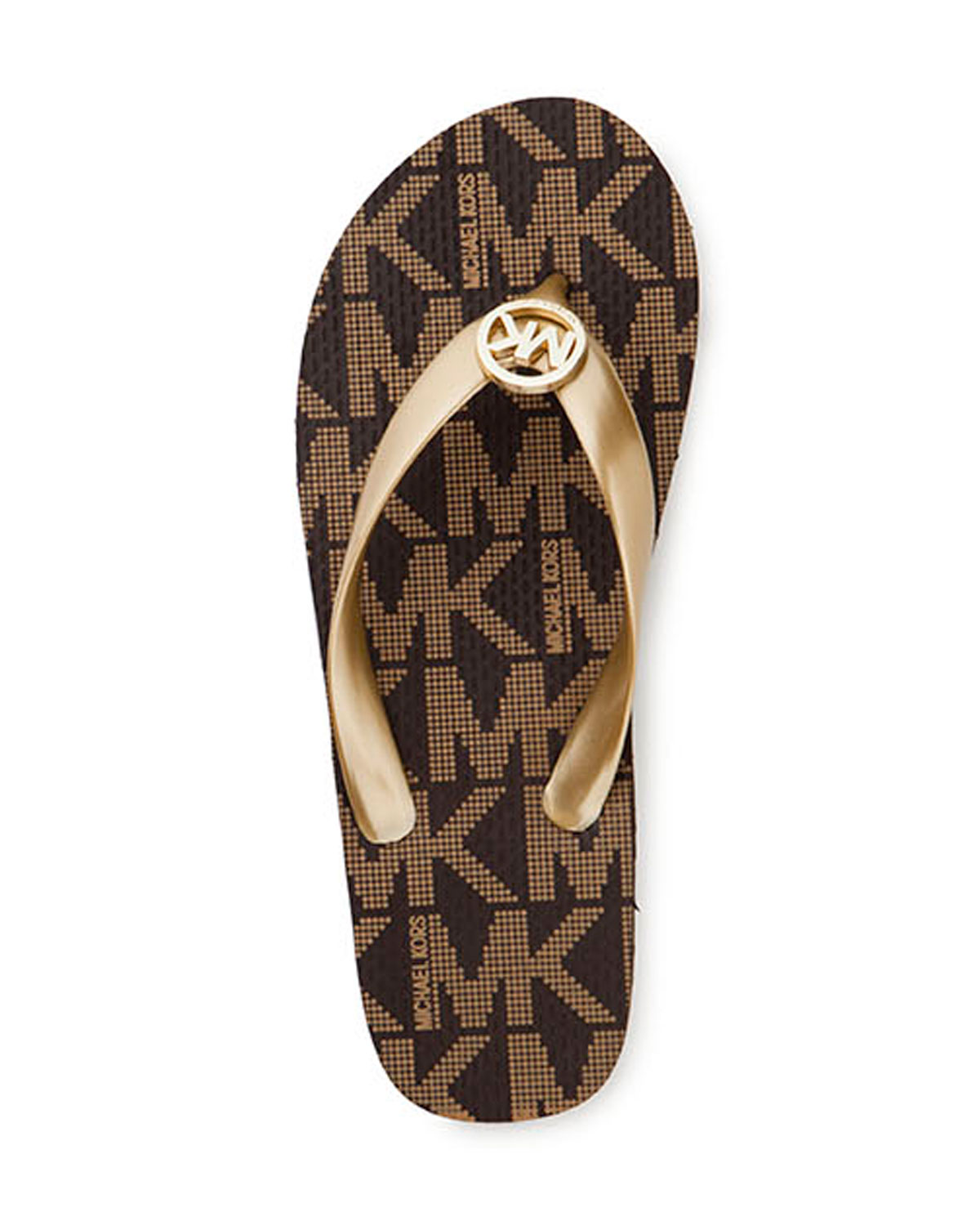 no sale tax pretty cool great quality Michael Kors PVC Jet Set Logo Flip Flops Sandals, Gold (11M)
