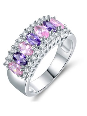 7-Stone Oval-Cut Lab Created Pink Opal and CZ 18kt White Gold-Plated Ring