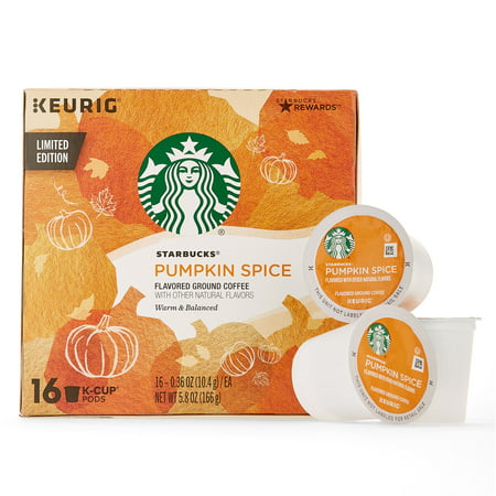 Starbucks Pumpkin Spice Flavored Single-Cup Coffee for Keurig Brewers, 1 Box of 16 (16 Total K-Cup Pods)