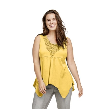 ellos Women's Plus Size Crochet Trim Hanky Hem Tank Metallic Trim Tank