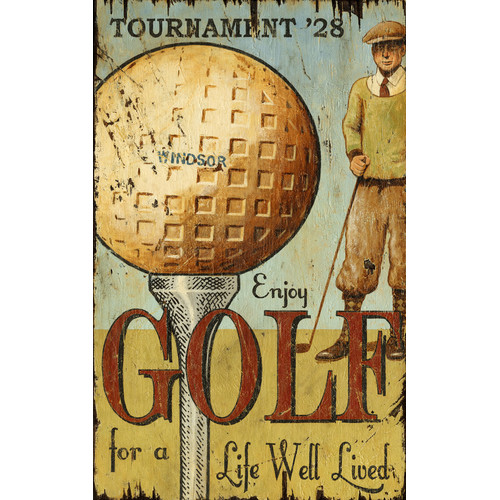 Red Horse Arts Enjoy Golf Vintage Advertisement Plaque