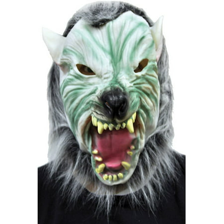 Silver Wolf Mask with Hair Adult Halloween Accessory](Hungry Wolf Mask)