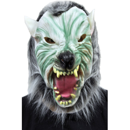 Silver Wolf Mask with Hair Adult Halloween Accessory