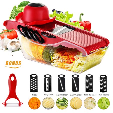 Godmorn Mandoline Slicer Vegetable Cutter Grater Chopper with 6 Interchangable Stainless Steel Blades, Shredder, Peeler, Safety Food Holder, Food Container