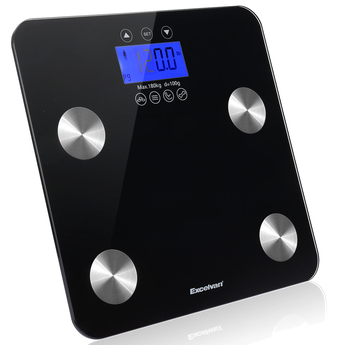 Excelvan Body Fat Scale, Smart Weight Scale 400 lbs with BMI Body Fat Composition Analyzer, Large Display, Smart Bathroom Wireless Weight Scale Work with iOS and Android